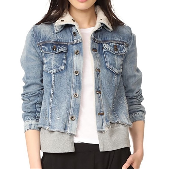 Free People Distressed Denim Attached Gray Hoodie